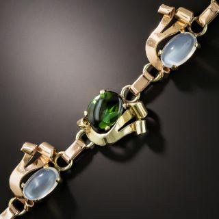 Retro Tourmaline and Moonstone Two-Tone Bracelet - 4
