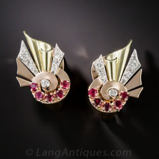 Retro Rose Tri-Color Gold  Ruby and Diamond Earrings - 1