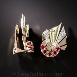 Retro Tri-Color Ruby Diamond Earrings