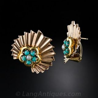 Retro Turquoise and Pearl Fan Earrings