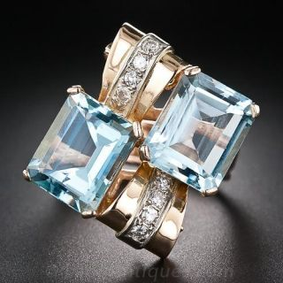 Retro Twin Aquamarine and Diamond Ring - 1