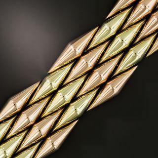 Retro Two-Tone Diamond Shaped Link Bracelet  - 2