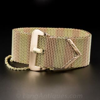 Retro Two-Tone Gold Buckle Bracelet