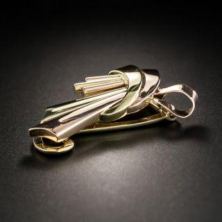 Retro Two-Tone Ribbon Brooch