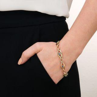 Retro Two Tone Sapphire Link Bracelet