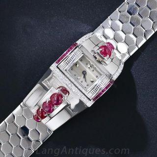 Retro White Gold, Ruby and Diamond Bracelet Watch - 1