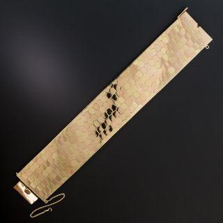 Retro Wide 18K Two-Tone Gold Honeycomb Bracelet - 3