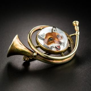Reverse Crystal Fox and Hunting Horn Brooch - 4
