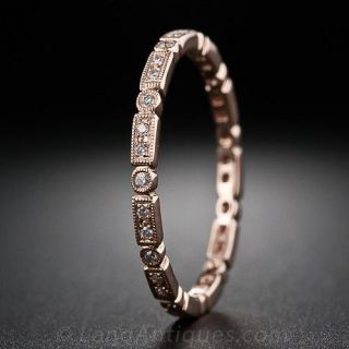 Rose Gold Micro Diamond Wedding Band - Size 4 1/2 - 1