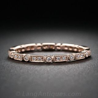 Rose Gold Micro Diamond Wedding Band - Size 6 only