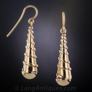 Rose Gold Swirly Drop Earrings