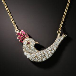 Ruby and Diamond Bird Necklace - 2