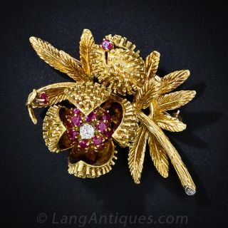Ruby and Diamond Blossoming Chestnut Flower Brooch