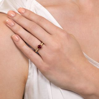 Estate 1.10 Carat Burma Ruby and Diamond Ring