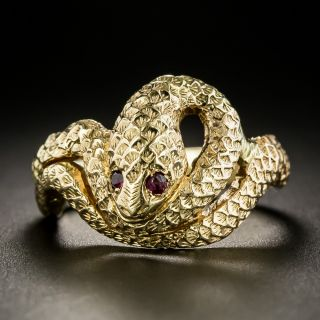 Ruby Eyed Snake Ring - 3