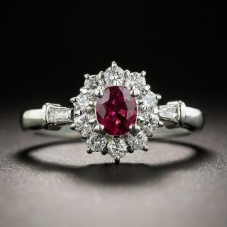 Small Ruby Platinum Diamond Ring - 1