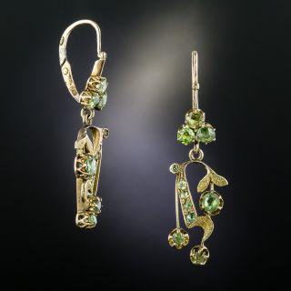Russian Art Nouveau Demantoid Garnet Earrings - 2