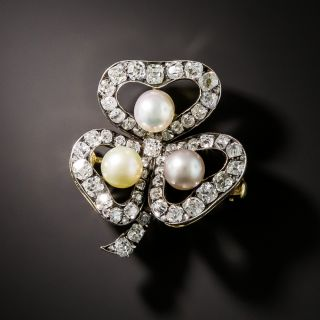 Russian Faberge Three-Leaf Clover Diamond and Natural Pearl Brooch - 3