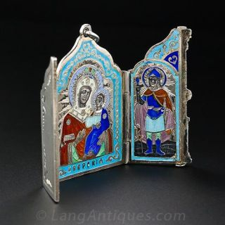 Russian Silver and Enamel Travel Icon