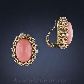 Salmon Coral and Diamond Earrings