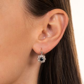 Antique Sapphire and Diamond Halo Earrings