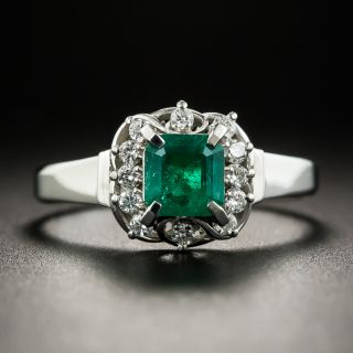Small Platinum Emerald and Diamond Ring - 1
