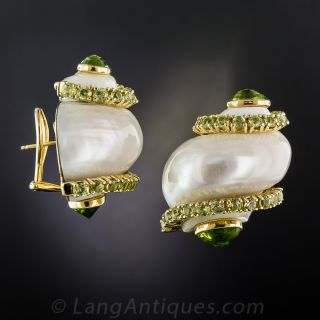 Seaman Schepps Peridot and Turbo Shell Earrings