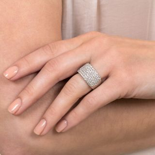 Seven Row Diamond Platinum Band Ring
