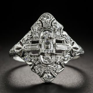 Small Art Deco Platinum Diamond Dinner Ring - 1