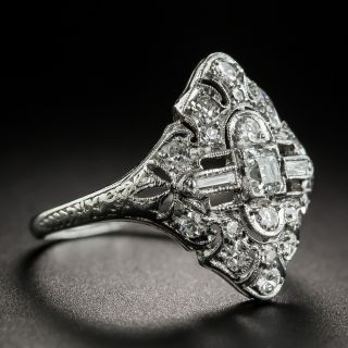 Small Art Deco Platinum Diamond Dinner Ring