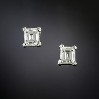 Small Estate Emerald-Cut Diamond Stud Earrings - 3
