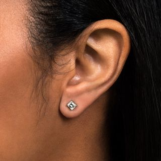 Small Estate Emerald-Cut Diamond Stud Earrings