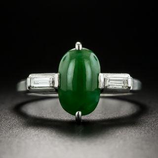 Small Natural Burmese 1.40 Carat Jade and Diamond Ring - 1