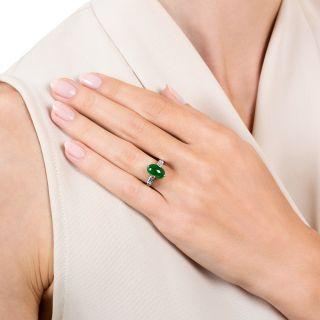 Small Natural Burmese 1.40 Carat Jade and Diamond Ring
