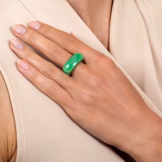 Solid Jade Saddle Ring, Size 7 1/4