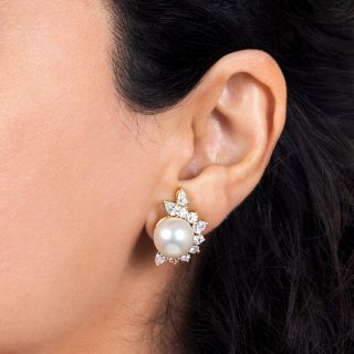 South Sea Pearl and Diamond Clip Earrings