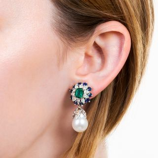 South Sea Pearl Drops with Emerald, Sapphire, and Diamond Tops