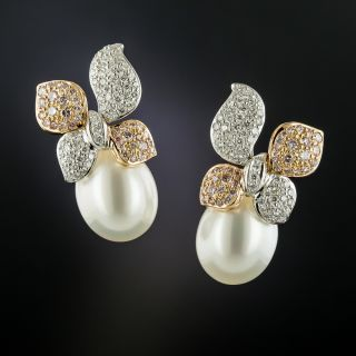 South Sea Pearl Pink and White Diamond Earrings - 3