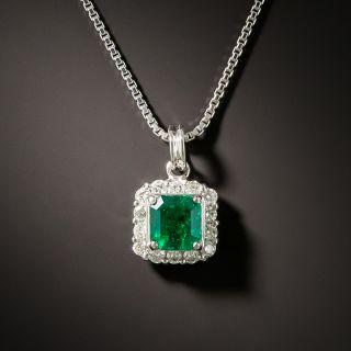 Square .63 Carat Emerald and Diamond Drop - 3