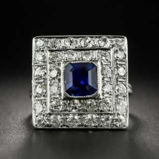 Square Art Deco Sapphire and Diamond Ring - 1
