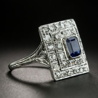 Square Art Deco Sapphire and Diamond Ring