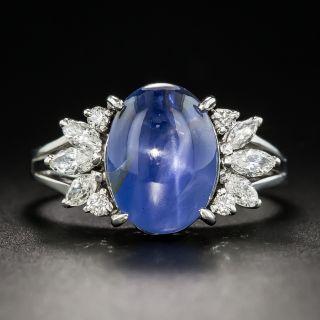 Star Sapphire Platinum Diamond Ring