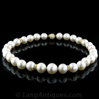 Stunning South Seas Pearl and Diamond Necklace - 1