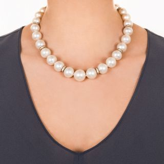 Stunning South Seas Pearl and Diamond Necklace