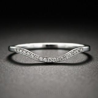 Thin Diamond Contoured Wedding Band - 1