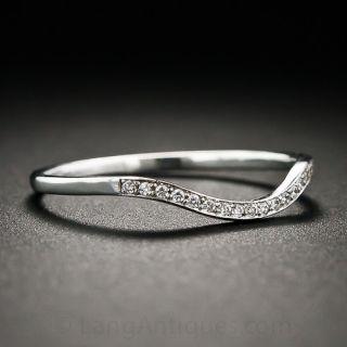 Lang Collection Thin Diamond Contoured Wedding Band