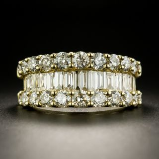 Three-Row Baguette and Round Diamond Band - 3