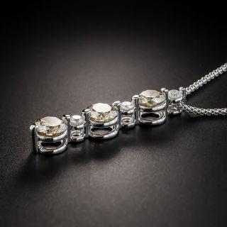 Three-Stone 2.51 Carat Fancy Color Diamond Pendant Necklace