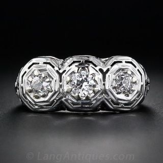 Three-Stone Antique Diamond Ring