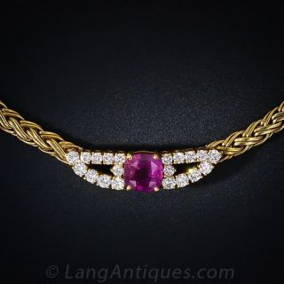Tiffany & Co Pink Sapphire and Diamond Necklace - 1